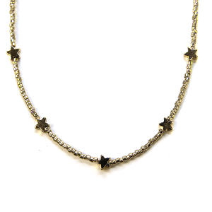 Necklace 309a 21 Dorothy bead chocker necklace star gold