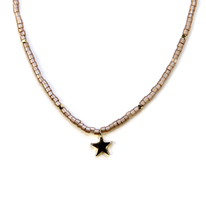 Necklace 340a 21 Dorothy bead choker necklace star pink