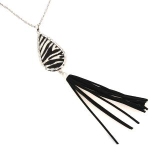 Necklace 148b 22 No. 3 tear drop tassel zebra silver black white