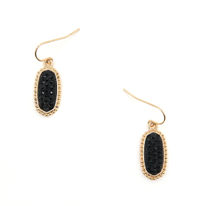 Earring 207a 22 No. 3 Small Hex Rhinestone black gold