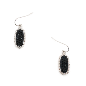 Earring 197h 22 No. 3 Small Hex Rhinestone black