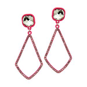 Earring 2695 22 No.3 gem tear drop rhinestone neon pink