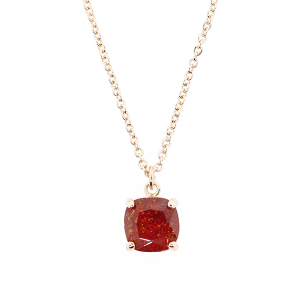 (Necklace 348d 22 No. 3) Chain crown gem burgundy