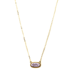 Necklace 1220b 22 No.3 hex raw druzy stone gold lavender