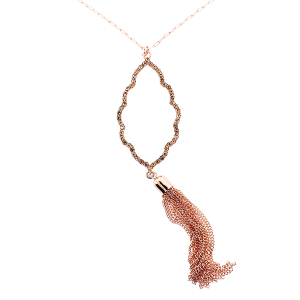 Necklace 286 22 No. 3 Geometric chain tassel rose gold