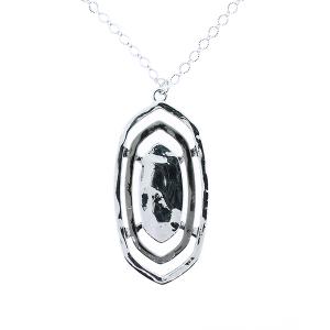 (Necklace 310 22 No. 3) Three layer pendant long necklace silver black