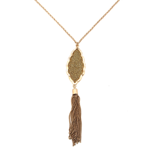 Necklace 1632c 22 No. 3 geometric drop chain tassel gold