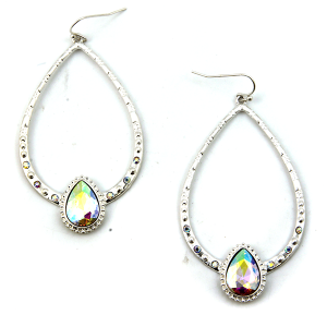Earring 3500 22 No. 3 tear drop rhinestone gem earrings silver