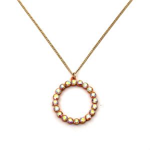 Necklace 534 22 No. 3 rhinestone hoop necklace orange