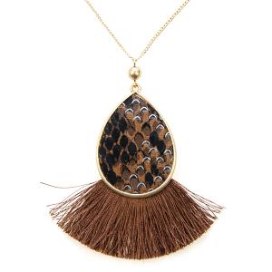 Necklace 429a 22 No. 3 tassel fan snake necklace print brown