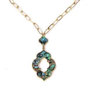 Necklace 1137 22 No. 3 geometric chain necklace abalone