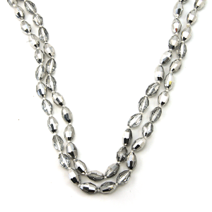 Necklace 894e 30 60 inch bead necklace silver oval beads