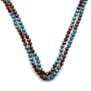 Necklace 688c 22 No. 3 30 60 inch bead necklace turquoise burgundy 1 mt2
