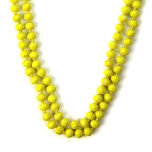 Necklace 411b 22 No. 3 30 60 inch bead necklace neon yellow