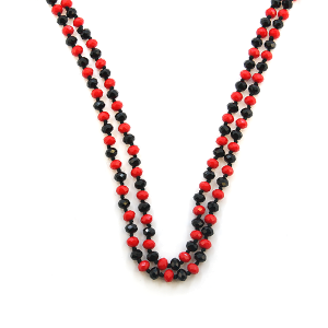 Necklace 1746a 22 No. 3 30-60 inch bead necklace black red