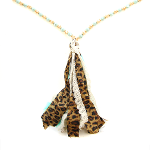 Necklace 1756e 22 No. 3 bead tassel necklace leopard turquoise