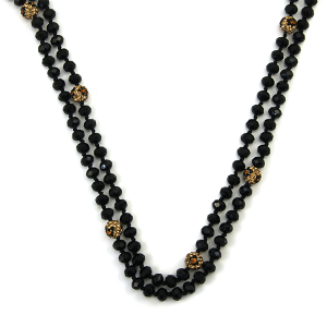 Necklace 302a 22 No. 3 30 60 inch bead necklace leopard accent black