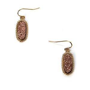 Earring 720a 22 No. 3 raw druzy earrings rose gold