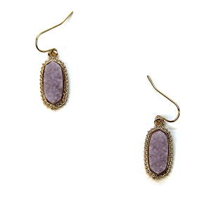Earring 713c 22 No. 3 raw druzy earrings lavender