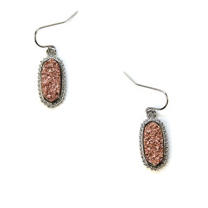 Earring 723a 22 No. 3 raw druzy earrings rose gold