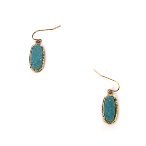 Earring 209c 22 No. 3 Small Hex Raw Stone Druzy earrings gold turquoise