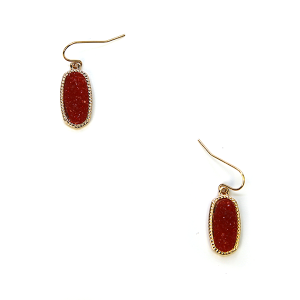 Earring 157d 22 No. 3 Small Hex Raw Stone Druzy earrings gold red