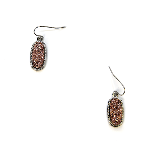 Earring 144f 22 No. 3 Small Hex Raw Stone Druzy earrings silver rose gold