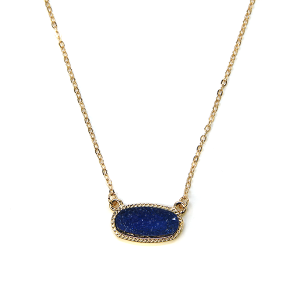 Necklace 1164a 22 No. 3 raw stone druzy necklace blue
