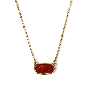 Necklace 1220a 22 No. 3 raw stone druzy necklace red gold