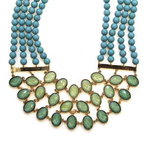Necklace 947j 23 Alpha choker style collar bead gem necklace