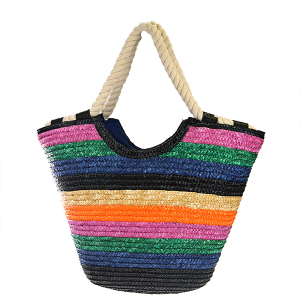 Straw Stripe Beach Tote Rope Handle - Multicolor