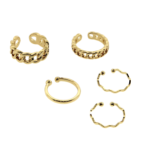 Ring 024 24 Wildflower 5pc chain set gold
