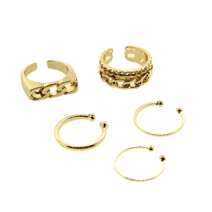Ring 027 24 Wildflower 5pc chain set gold