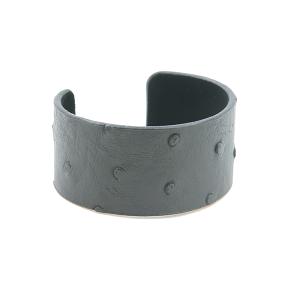 Bracelet 634j 24 Story By Davinci open bangle leather spots black