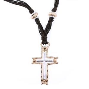 (Necklace 116 24 Story By Davinci) Multi string cross necklace gold silver