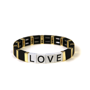 Bracelet 201 24 Wildflower stretch LOVE bracelet black