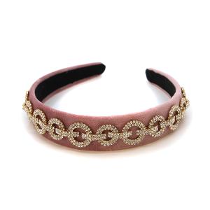 Headband 109a 24 Story By Davinci chain rhinestone headband pink