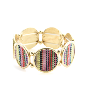 Bracelet 070c 24 Story By Davinci serape knit stretch bracelet gold light multicolor