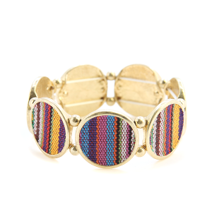 Bracelet 079b 24 Story By Davinci serape knit stretch bracelet gold multicolor