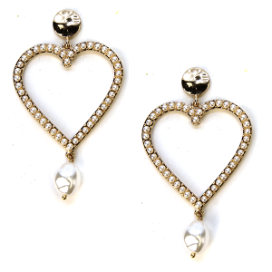 Earring 272b 24 Wildflower stud bead earrings heart