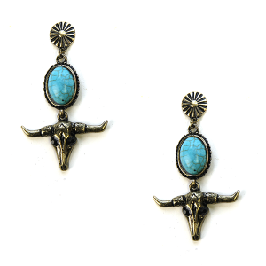 Earring 2884a 24 Wildflower longhorn earrings turquoise gold stud