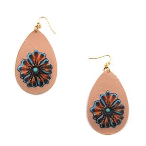 Earring 3267b 24 Wildflower leather tear drop floral earrings pink