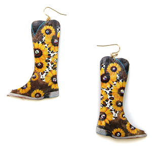 Earring 2890a 24 Wildflower cowboy boots sunflower earrings