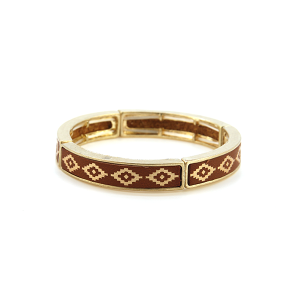 Bracelet 711 25 Tell Your Tale geometric stretch link bangle small brown