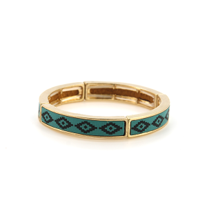 Bracelet 712h 25 Tell Your Tale geometric stretch link bangle small turquoise