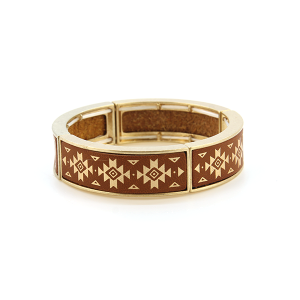 Bracelet 717a 25 Tell Your Tale geometric stretch link bangle brown