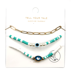 Anklet 013 25 Tell Your Tale 3 set evil eye turquoise white