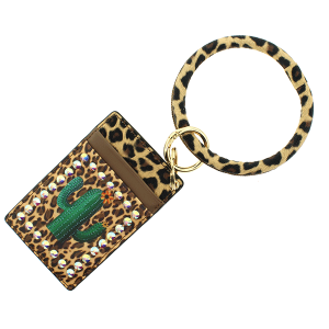 Keychain 107h 25 Tell Your Tale cardholder leopard cactus multi beige
