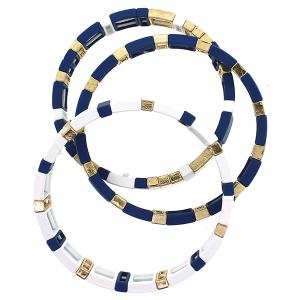 Bracelet 676J 25 Tell Your Tale 3pc block multi blue