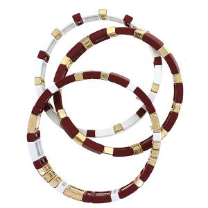 Bracelet 662e 25 Tell Your Tale 3pc block multi burgundy